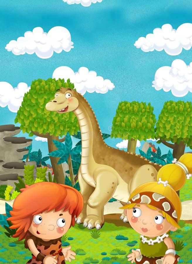 动画片愉快的恐龙-愉快的对人. 女性, 本质.图片
