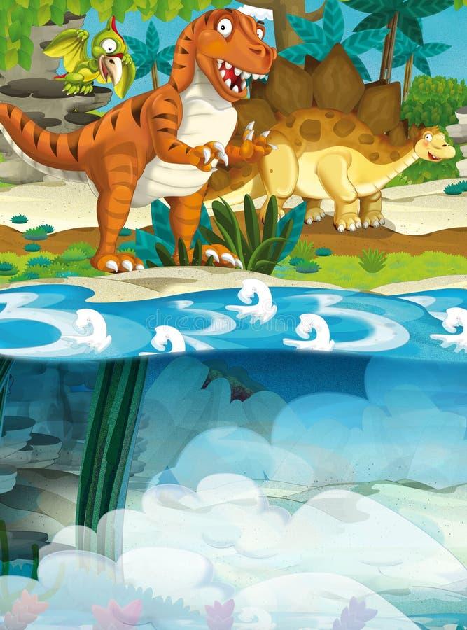 动画片愉快的恐龙-暴龙和水下的恐龙图片