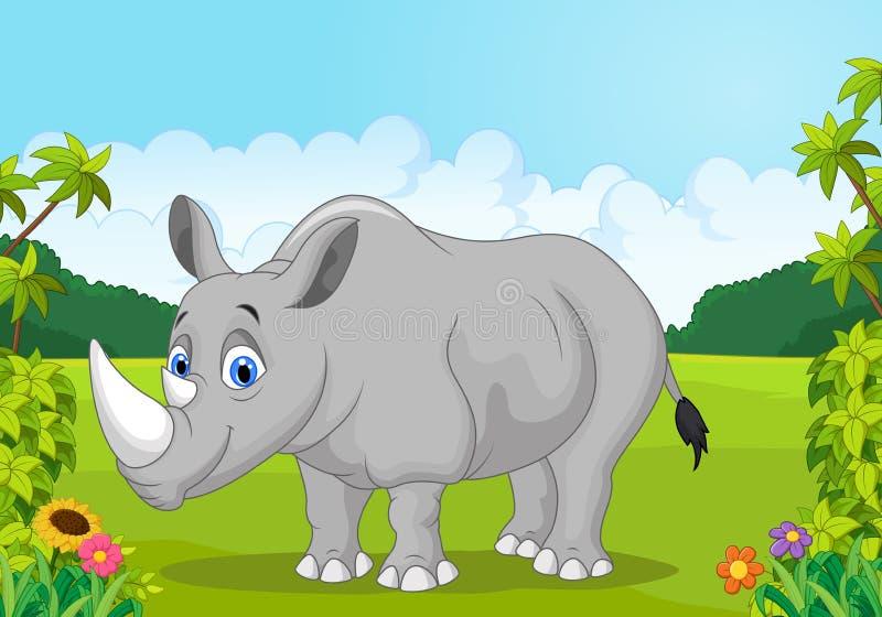 动画片愉快的犀牛在密林 向量例证