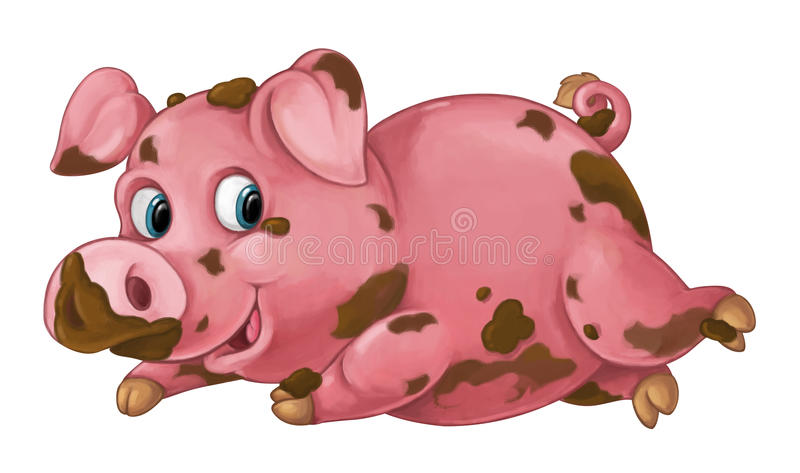 动画片愉快的猪充当泥-看和微笑- -被隔绝的艺术风格 向量例证