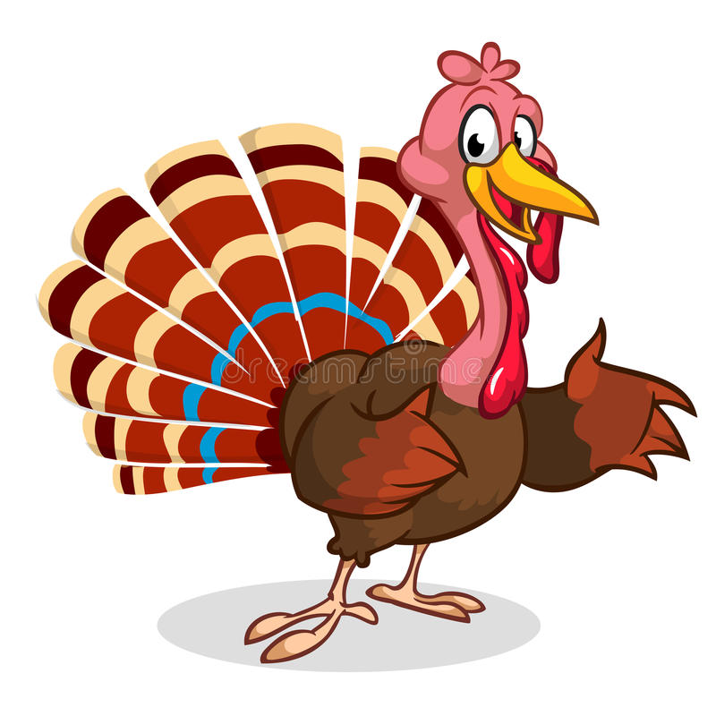 动画片感恩在白色隔绝的火鸡提出 向量 向量例证