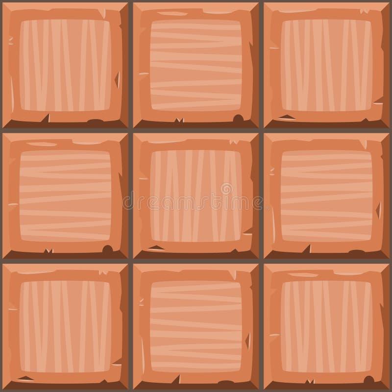 动画片手淹没橙色无缝的装饰老瓦片纹理 库存例证