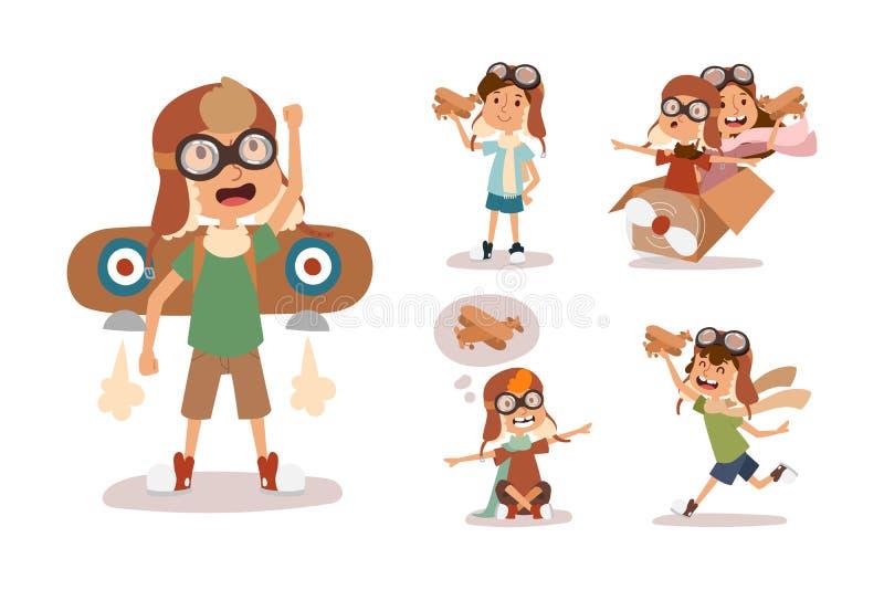 动画片扮演试验航空角色的传染媒介孩子 库存例证