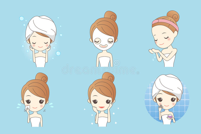 动画片护肤妇女 向量例证