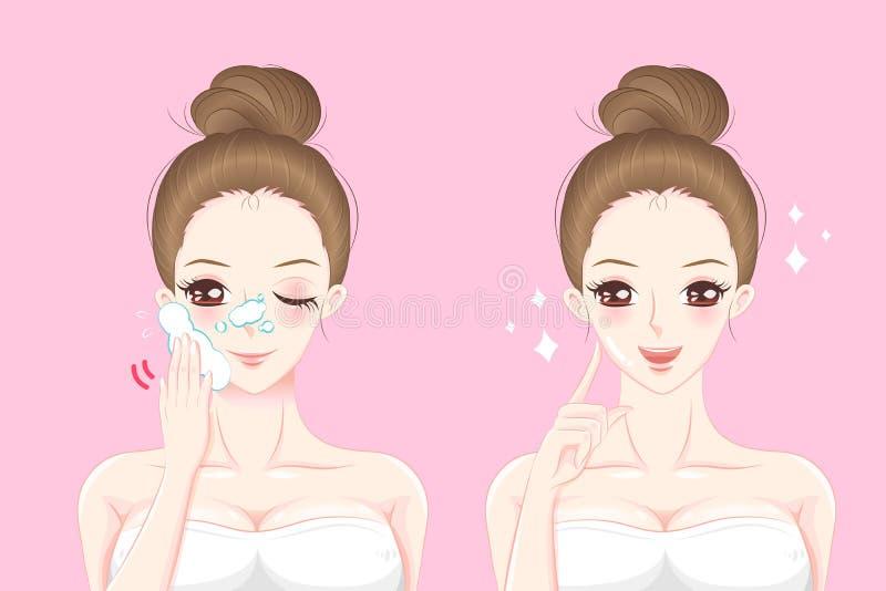 动画片护肤妇女 库存例证