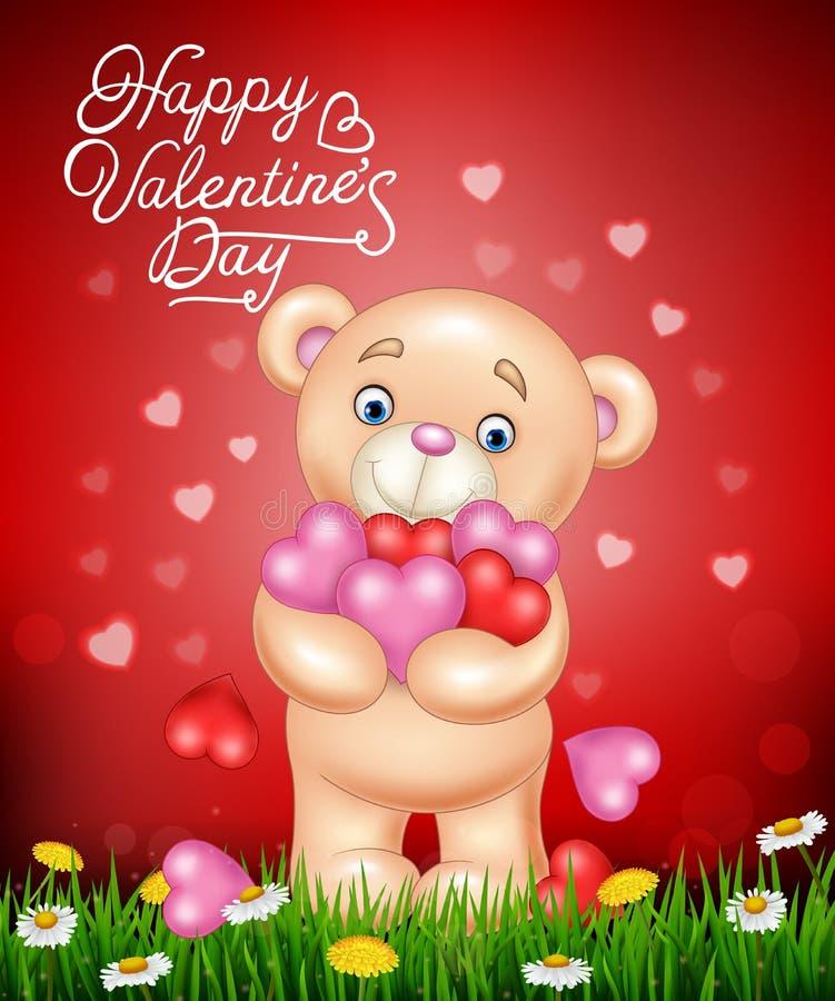 动画片拥抱束心脏的玩具熊 向量例证