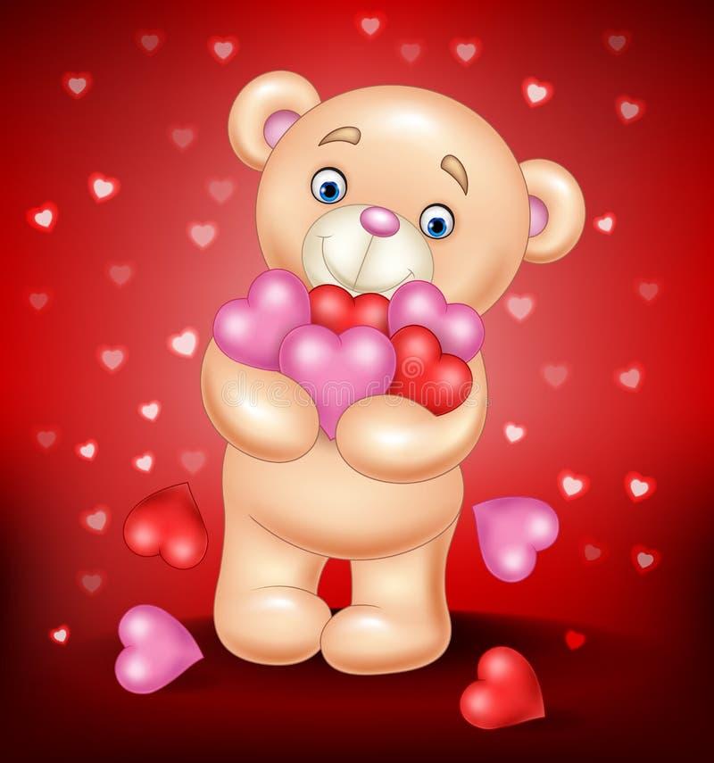 动画片拥抱束心脏的玩具熊 皇族释放例证