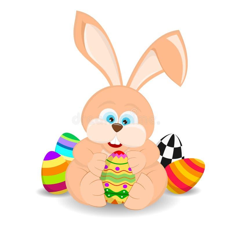 动画片拿着复活节彩蛋的复活节兔子 库存例证