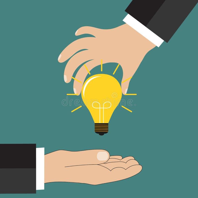 动画片拿着想法电灯泡的商人手 库存例证