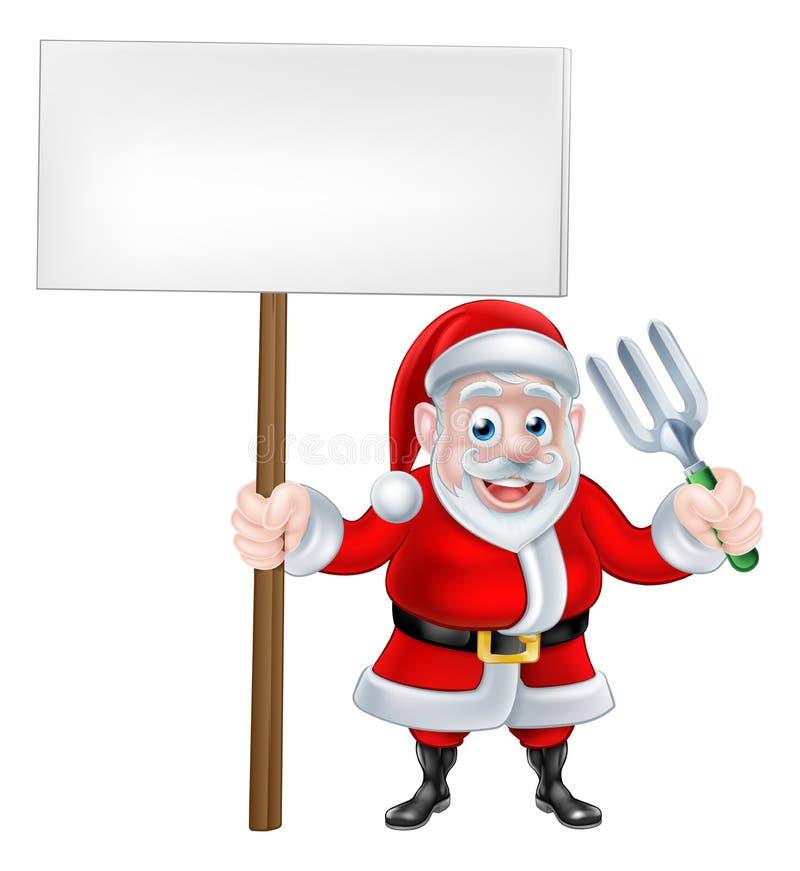 动画片拿着标志和叉子的圣诞老人 皇族释放例证