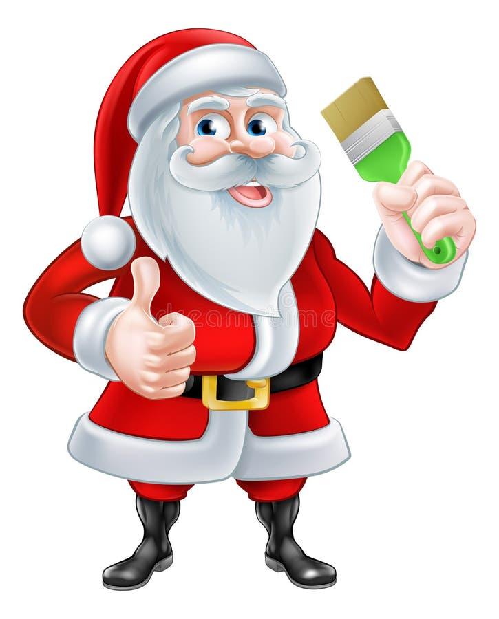 动画片拿着油漆刷的圣诞老人 皇族释放例证