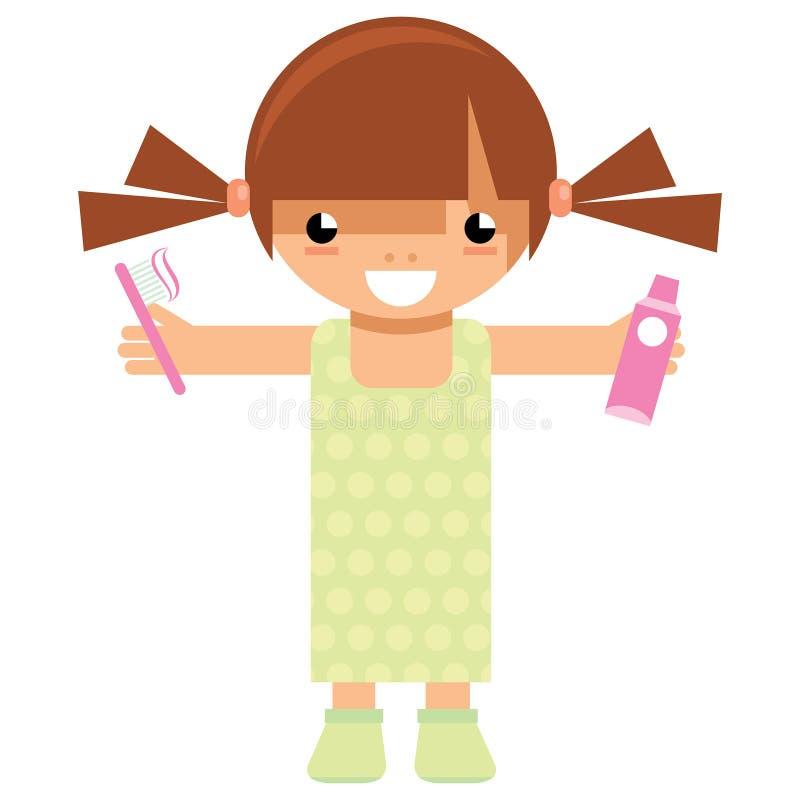 动画片拿着牙刷和牙膏的女孩字符洗涤 皇族释放例证