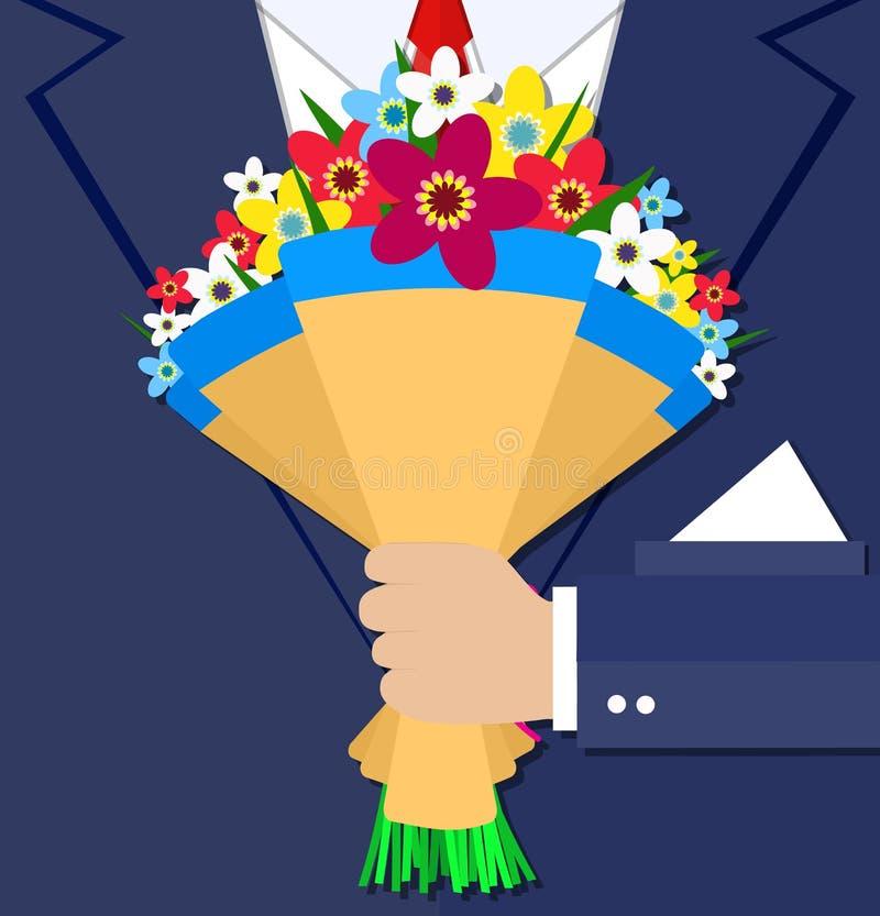 动画片拿着花束花的商人手 皇族释放例证