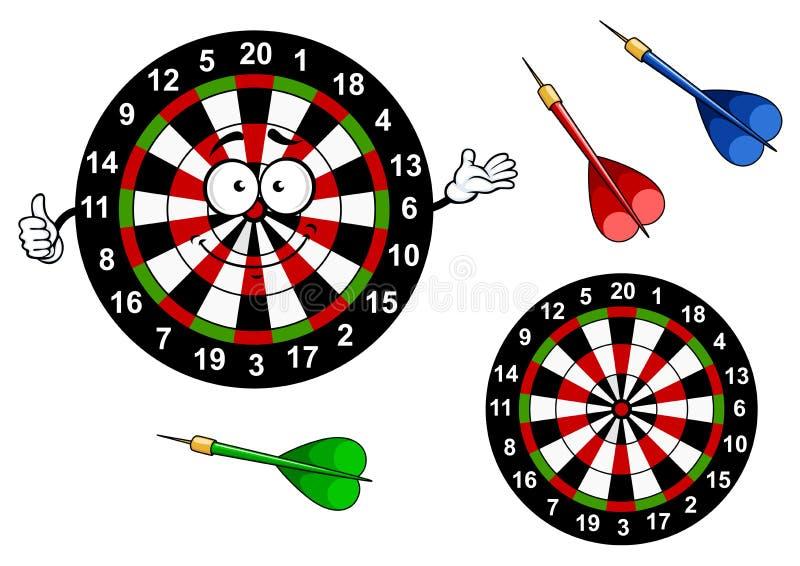 动画片掷镖的圆靶与五颜六色的目标字符 库存例证