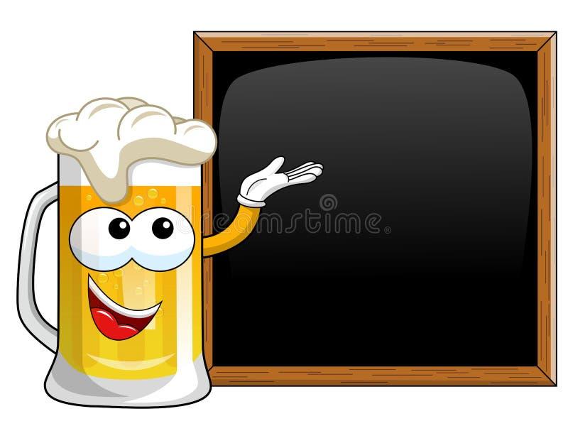 动画片提出空白的黑板黑板的啤酒杯 皇族释放例证