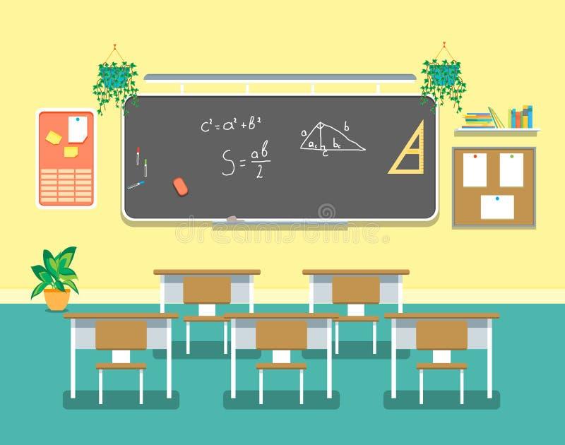 动画片教室设计内部 向量 库存例证