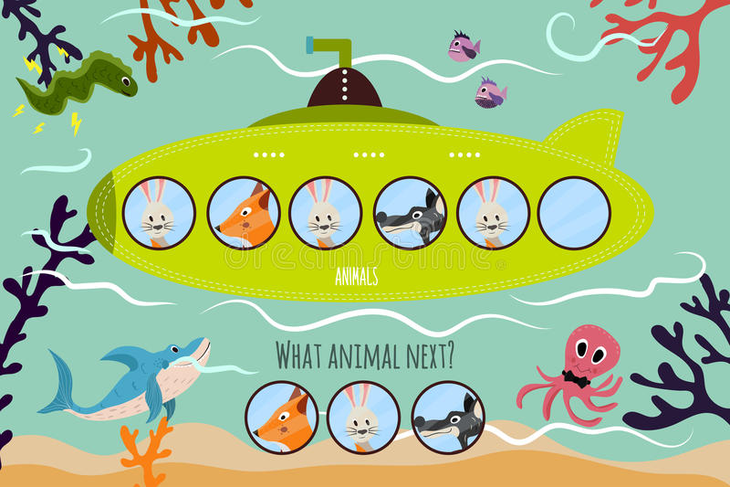 动画片教育的传染媒介例证在一艘绿色潜水艇将继续五颜六色的动物逻辑系列  配比的Gam 库存例证