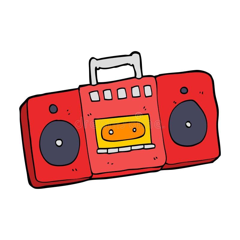 动画片无线电卡式磁带播放机 向量例证