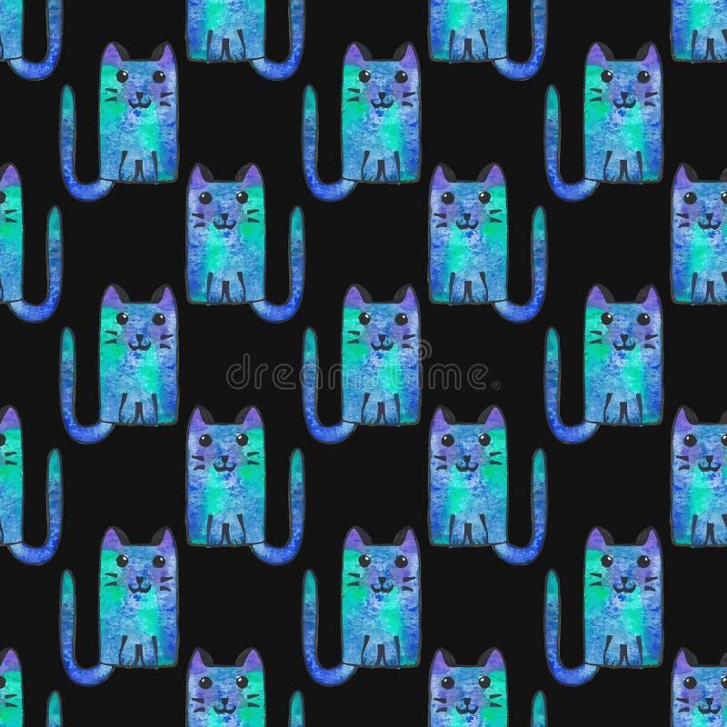 动画片无缝猫的模式 背景被画的现有量 也corel凹道例证向量 皇族释放例证