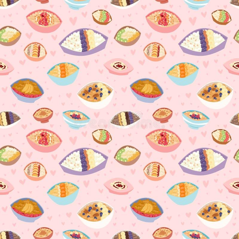 动画片无缝的样式健康燕麦粥粥kasha pap早晨谷物膳食传染媒介例证 皇族释放例证