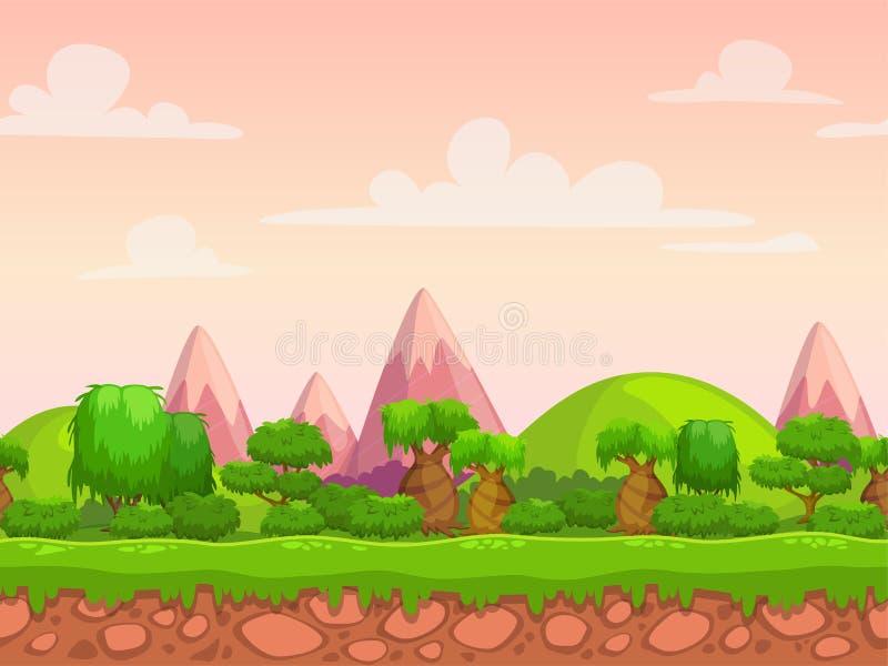 动画片无缝的自然风景 向量例证