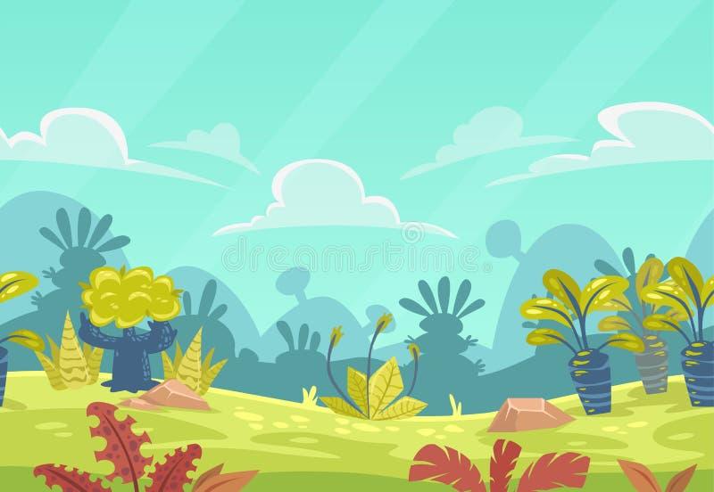 动画片无缝的幻想自然风景 库存例证