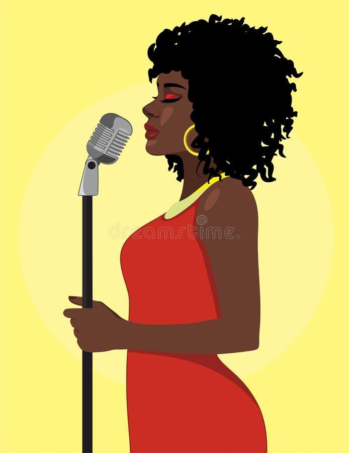动画片有吸引力的女歌手概念 向量例证