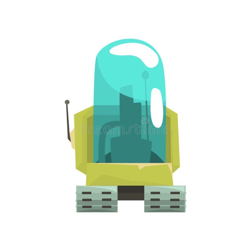动画片机器人与玻璃蓝色lense传染媒介例证的履带牵引装置字符 向量例证