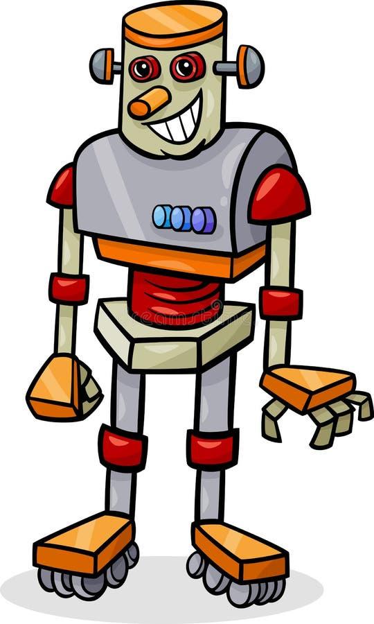 动画片机器人或droid例证 库存例证