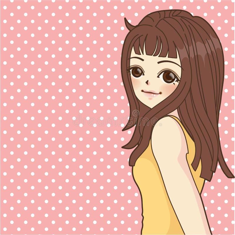 动画片样式的时尚女孩 库存例证