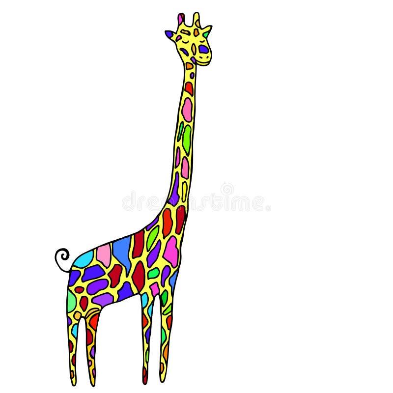 动画片样式,小,滑稽的动物,多彩多姿的斑点长颈鹿, 库存例证
