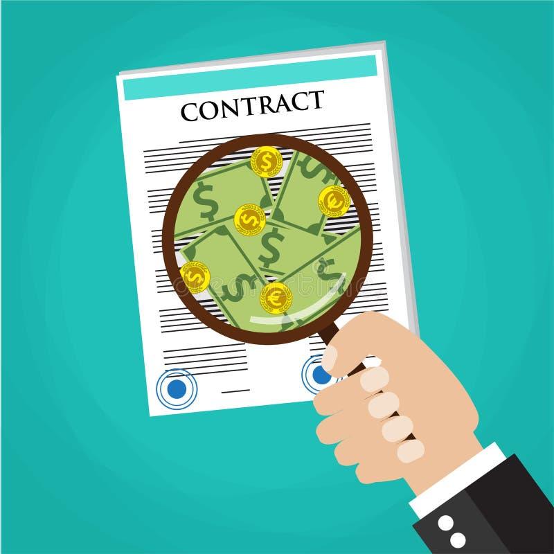 动画片检查合同的商人手 向量例证