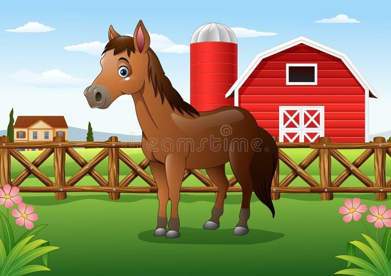 动画片棕色马在农场 库存例证