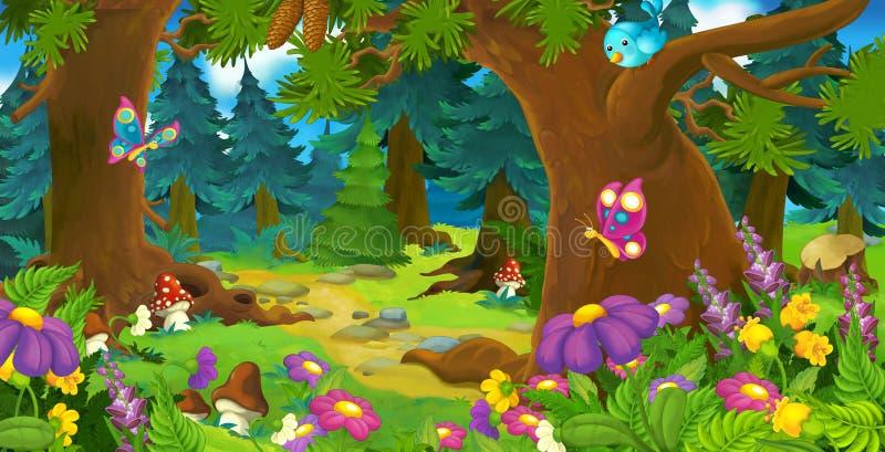 动画片森林场面-孩子的例证 向量例证