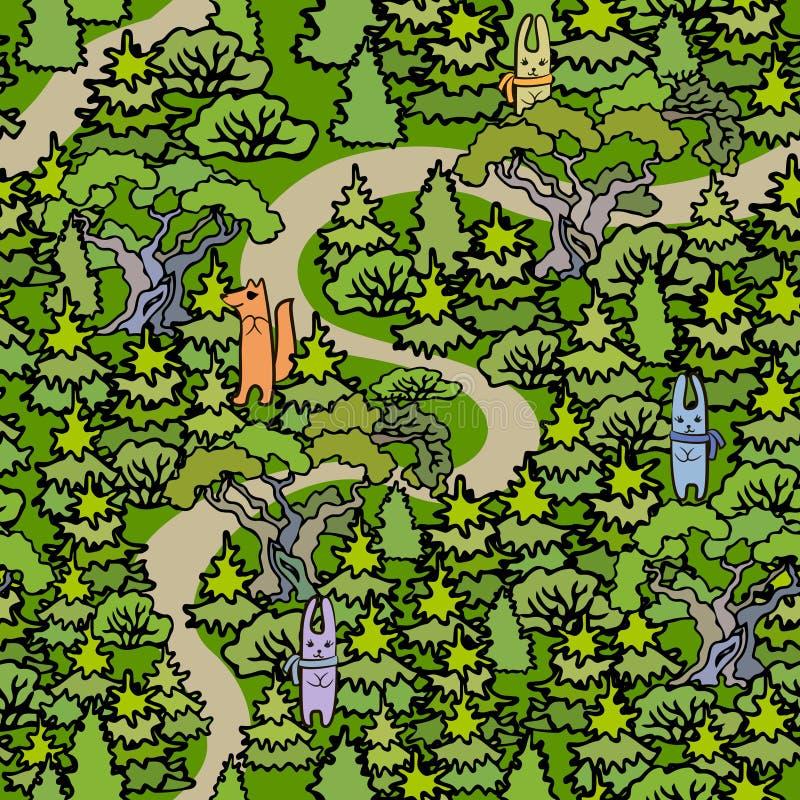 动画片橡木和冷杉木无缝的样式背景 拉长的现有量 向量例证