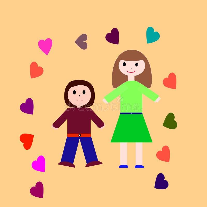 动画片母亲和孩子 库存图片