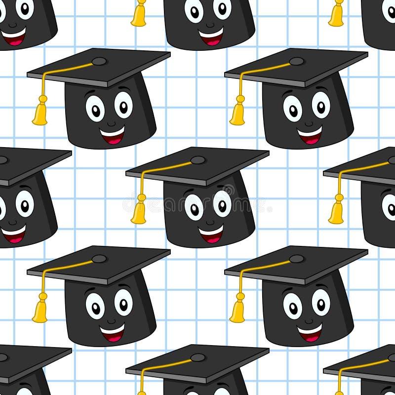 动画片毕业帽子无缝的样式 库存例证