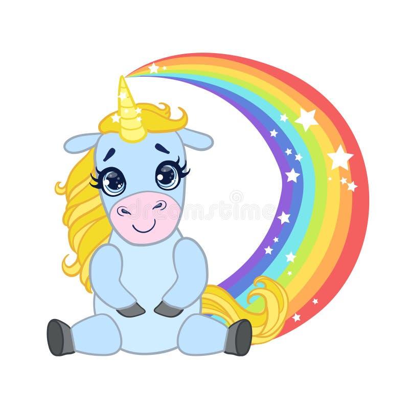 动画片浅兰的可爱的独角兽坐彩虹 五颜六色的传染媒介字符 库存例证