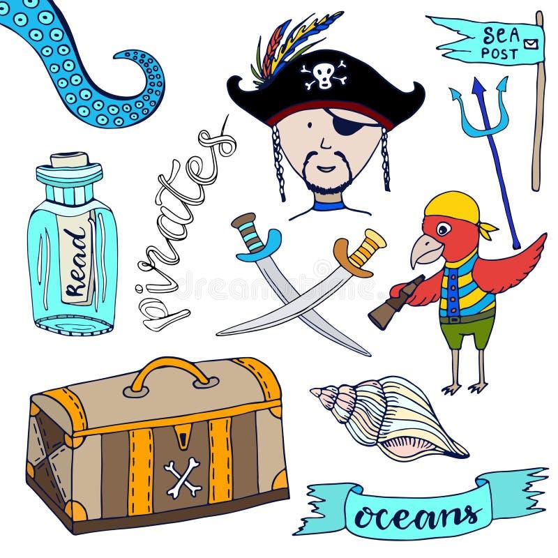 动画片海盗被设置 手拉的孩子收藏 乱画传染媒介例证海盗和鹦鹉 向量例证