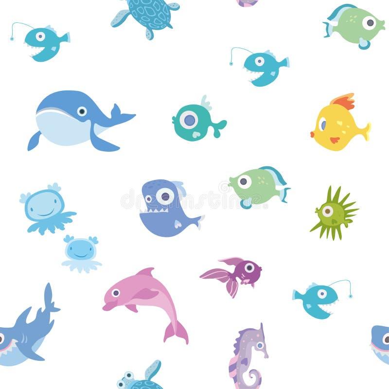 动画片海洋动物,无缝的样式 鲸鱼、鲨鱼、海豚和其他鱼和动物 背景画廊例证更多我看到向量 皇族释放例证