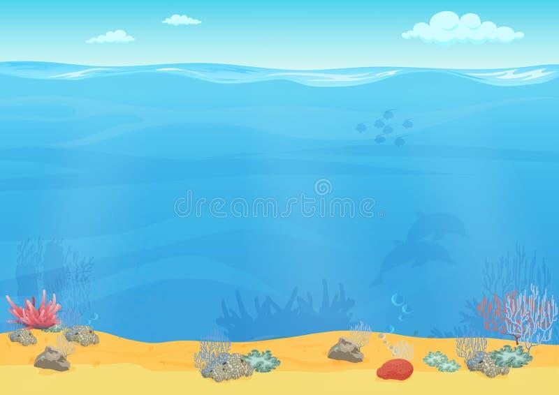 动画片游戏设计的海底背景 库存例证