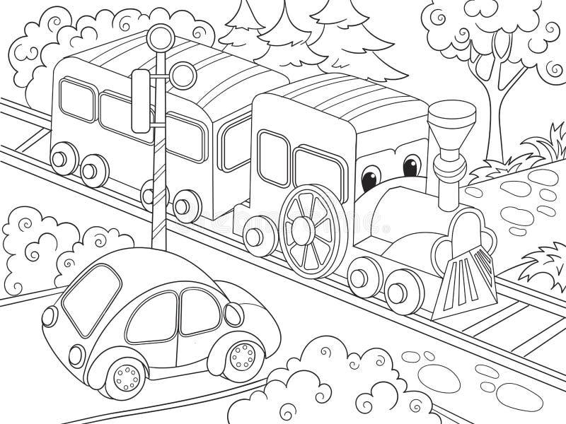 动画片火车火车和汽车儿童动画片的彩图导航例证 皇族释放例证