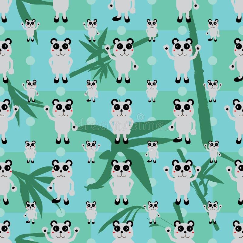 动画片熊猫对称竹叶子无缝的样式 库存例证