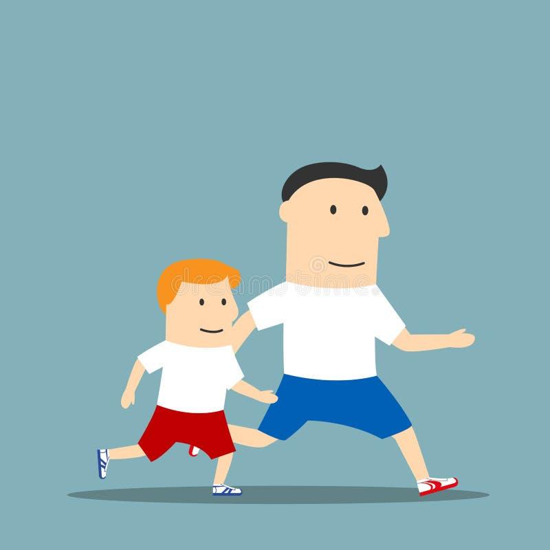 动画片父亲和儿子一起跑步图片