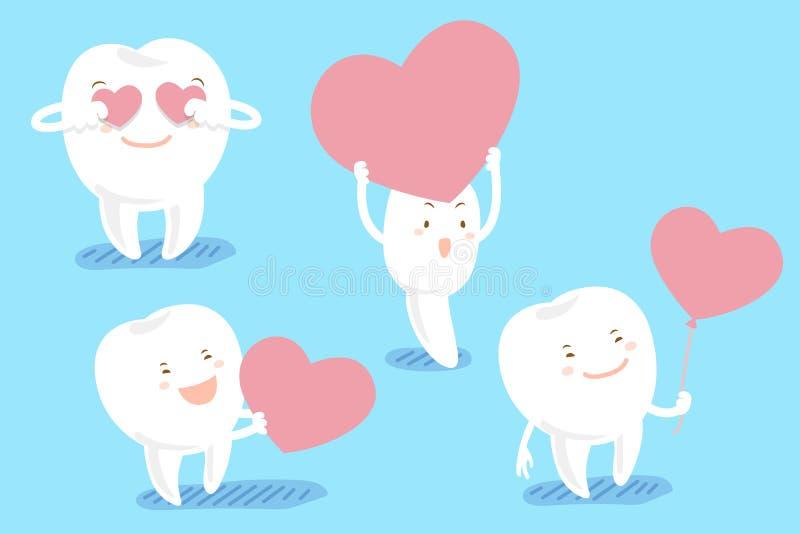 动画片牙采取红色心脏 向量例证