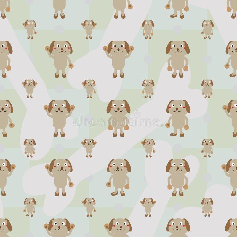 动画片狗对称骨头无缝的样式 库存例证