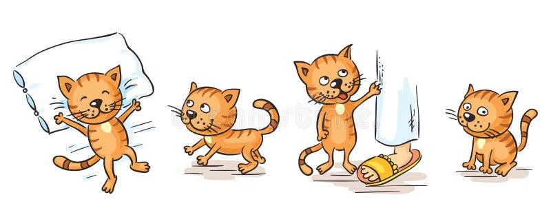 动画片猫例证向量黄色 皇族释放例证