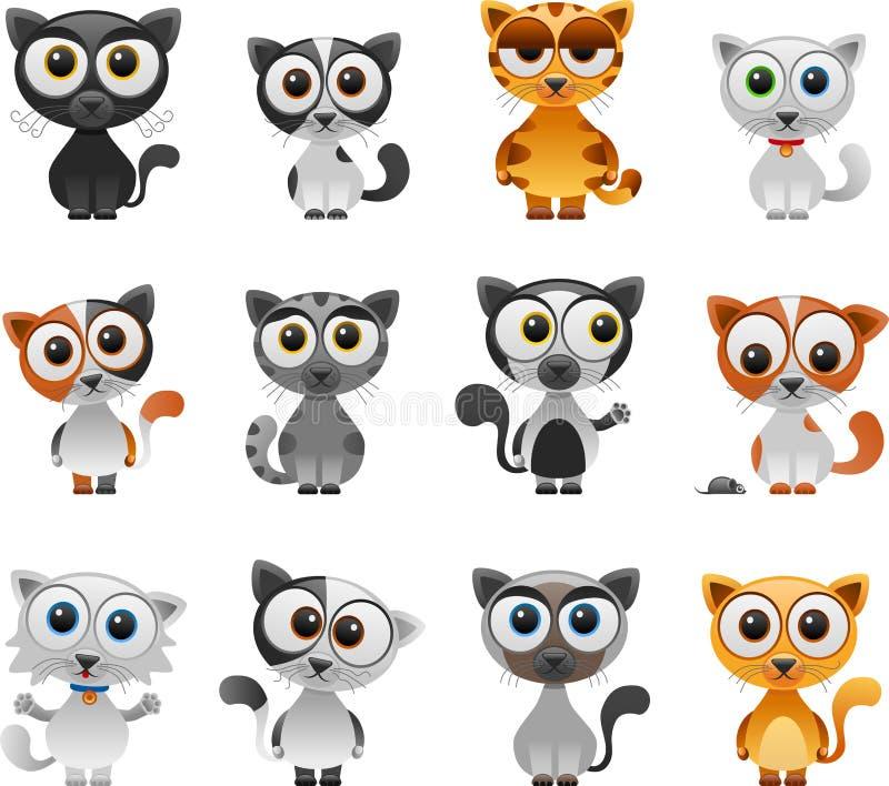 动画片猫集合 向量例证