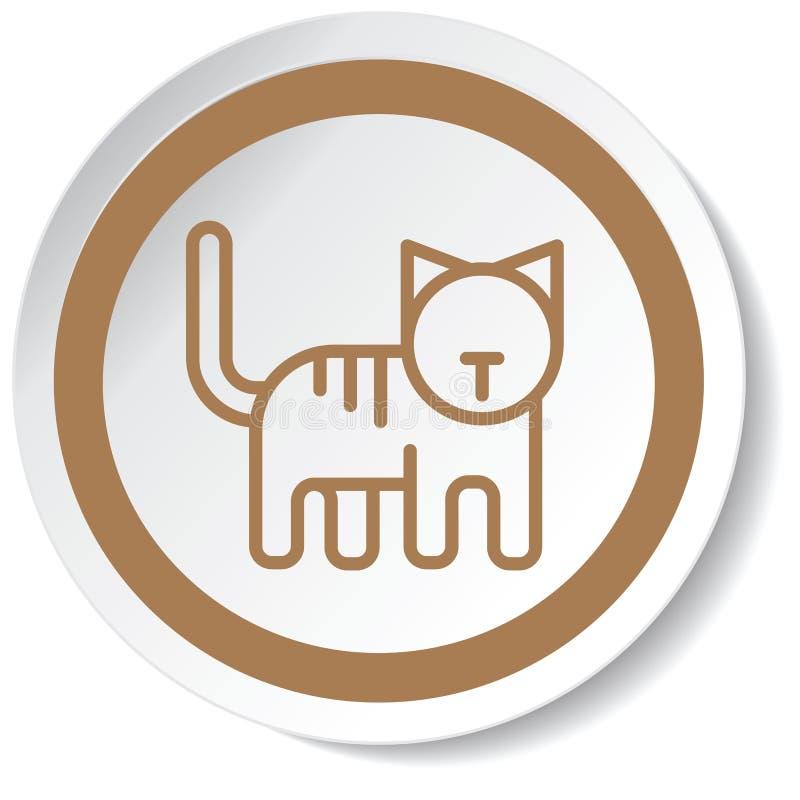 动画片猫minimalistic设计的图标 向量例证