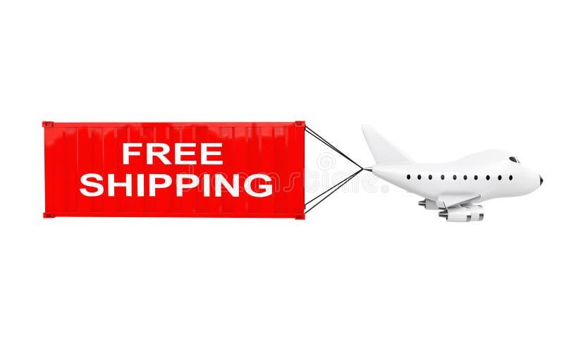动画片玩具喷气机飞机运载有自由Shippin的货箱 皇族释放例证